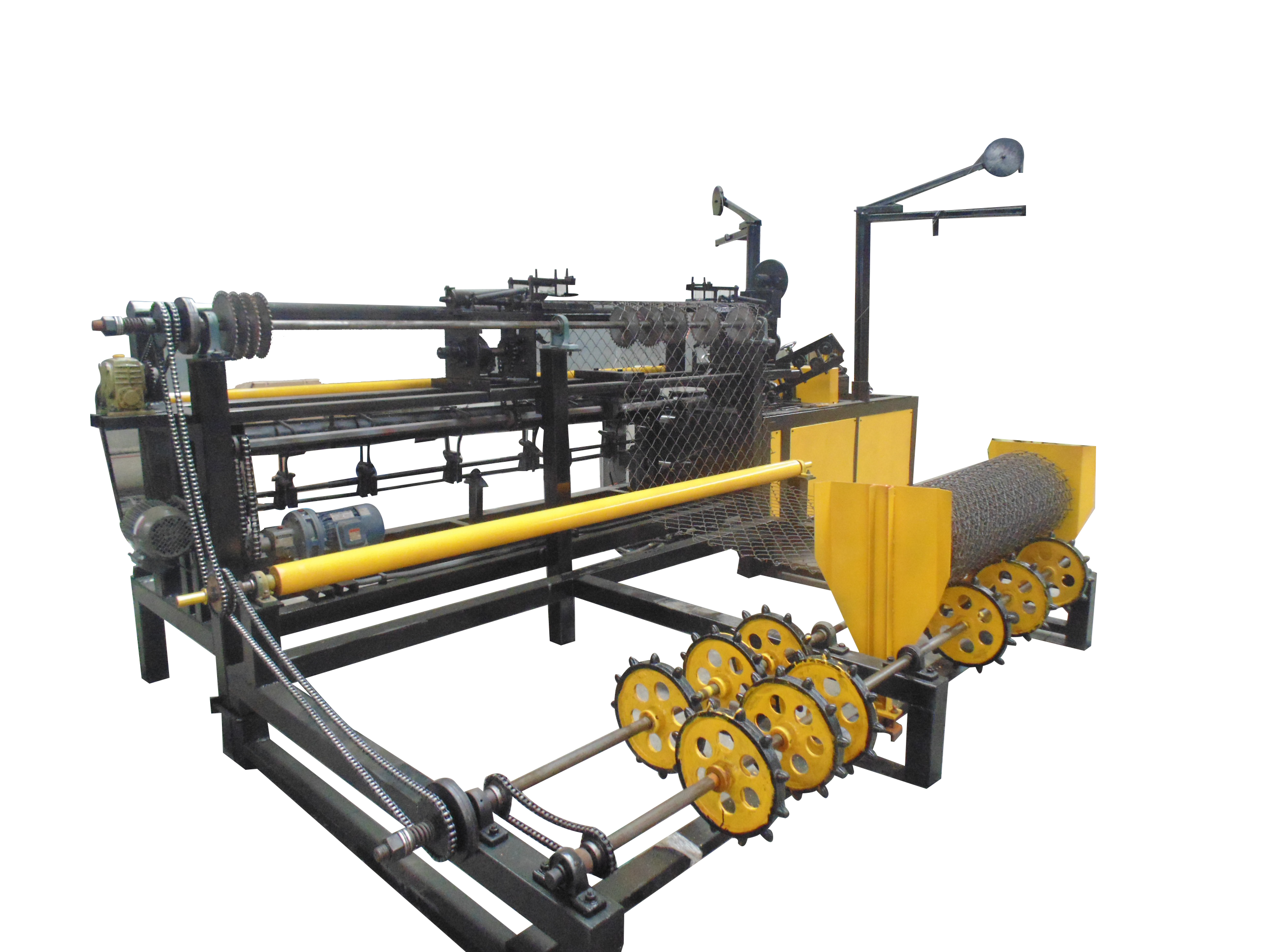 Double wire feeding chain link fence machine